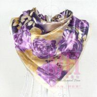 Cheap Women Brand Floral Pattern Polyester Silk Scarves Printed 90*90cm Hot Sale Wraps Female Satin Purple Large Square Scarf Shawl M61684