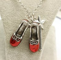 alice charms - Alice in Wonderland necklace alloy Pendants necklaces red shoes star Magic Wand charm Pendants necklaces jewelry Film jewelry LJJK473