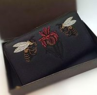 bee card - DY Famous Designer high Quality Bees and irises embroidery cow leather inside and outside WALLETS Genuine Leather wallets CM