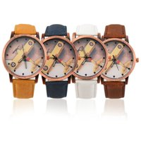aircraft fabrics - Women Men Aircraft Pattern Denim Fabric Band Round Dial Quartz Wrist Watches