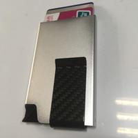 aluminum card guard - Silver Color Safe Guard Aluminum Slim Credit Cards Holder Wallet with Unique Carbon Fiber Cash Clip