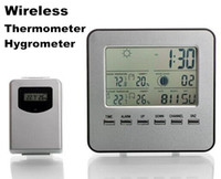 Wholesale 30pcs by dhl fedex Indoor Outdoor Wireless Digital Thermometer Hygrometer Weather Alarm Clock Humidity Monitor Barometer