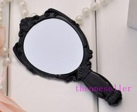 Wholesale 2015 Hot Vintage Rose Cosmetic Mirror Plastic Makeup Mirror Cute Girl Hand Make Up Black White Pink Colors