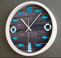 antique wood wall clock - European mediterranean lighthouse buoy nostalgic wood rot fish clock quartz clock stereo wall clock