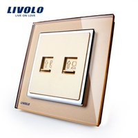Wholesale Manufacturer Livolo Luxury Crystal Glass Wall Socket Tel Com Best quality Outlet VL W292TC Tel COM
