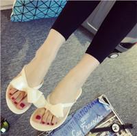 Wholesale 2016 Summer Sweet Bowtie Female Sandals Clip Flat Sandals Casual Woman Shoes Flip Flops SY1239