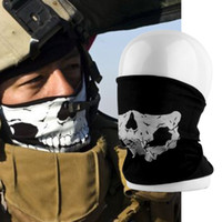 Wholesale HOT Cool Tubular Skull Ghosts Ghost Mask Bandana Motor bike Sport Scarf Neck Warmer Winter Halloween For Motorcycle free shiping
