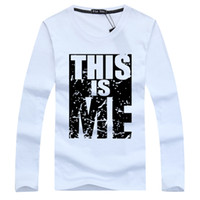 Wholesale Autumn Men T Shirt Cotton Long sleeve Young Style Letter Printed Slim Fit Men Clothes Fashion casual dress