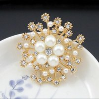 Wholesale Korean Clip Brooches - Korean Fashion Jewelry High Quality Gold Silver Plated Flower Simulated Pearl Crystal Scarf Clips Crystal Brooch for Women DHH176