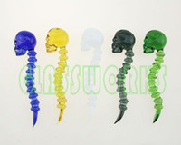 Wholesale Smoking Oil Dabbers Glass Skull Dabber Borosilicate Glass Pickers Skull Design For Oil Rig Wax Colors Mixed