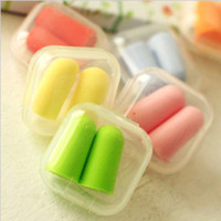 Wholesale Cute Candy colors Bullet style Foam Sponge Ear Plugs sleep earplugs Travel Sleep Noise Reducer multicoolor A0375