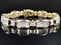 10k gold bracelet - Mens Pave Set K Yellow Gold Round Cut Genuine Inch Diamond Bracelet Ct