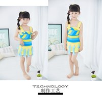 Wholesale 2016 new Fresh girls swimwear one piece Rainbow Contrast chiffon ruffles swimsuit for kids years large girl sky blue cheap