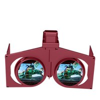 Wholesale New mini fold VR folding glasses virtual reality mobile phone D glasses factory direct sales Wine red