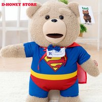 Wholesale Superman Bear Teddy - 2016 The Film Teddy Bear Ted Plush Toys superman 40CM Ted Bear Plush Dolls can sing and open mouth teddy bear