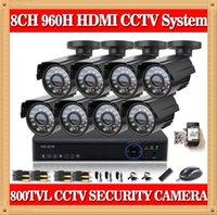 al por mayor vigilancia dvr en disco duro-DVR HDMI sistema de circuito cerrado de televisión CIA- 8CH 8PCS 800TVL IR exterior a la intemperie Cámara CCTV 24 LED sistema de seguridad casero Kits de vigilancia NO HDD