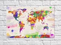 Wholesale Watercolor World Map Wall Home Decoration Map Picture Oil Painting On Canvas For Living Room Bedroom Wall Decor