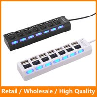 Wholesale Coming High Speed Mbps Ports LED Splitter Light USB Adapter Hub Power ON OFF Switch for PC Computer Laptop Notebook