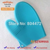Wholesale 1 Piece Silicone Oven Gloves Kitchen Oven Mitt Heat Resistant Mitts Insulated Waterproof Guarantee BBQ