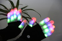 Wholesale Flashing Fingertip Light Mode LED Gloves Mittens Costumes Rave Party Skating Riding Finger Light Gloves for Event Party pairs