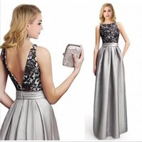 Wholesale 2016 Popular Cheaper Women s Dress Round Collar A Line Sleeveless Satin Floor Length Evening prom gowns