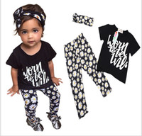 0-2 3-8 8-12 band clothing brands - 2016 New Girl Clothing Sets Fashion Kids Letters Short Sleeve T shirt Tops Flower Pants Hair band Set Children Summer Outfits sets