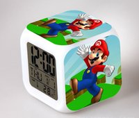 Wholesale New style Super mario bros alarm clock with colors change LED digital clock despertador best christmas gift for child
