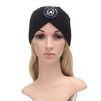 Wholesale Hot Europe And the United States Adult Knitting Wool Hat Autumn And Winter Keep Warm Earmuffs Gem Madam Head Cap New