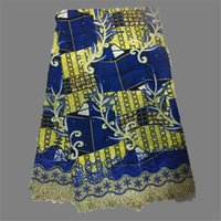Wholesale Latest Fashion African Guipure Wax Fabric With Lace Nice Super Wax Lace Fabric For Part Dress BLW3 yards