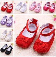 Wholesale retail Rose flower Baby First Walker Shoes infant baby prewalker kids Antiskid shoes girls shoes