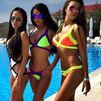 Wholesale Super sexy Multicolor Bikini Swimwear Beach dress halter bikini brazilian bikini SIZE S M L custom made design