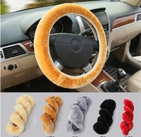 Wholesale 2015 New Cotton Universal Steering Wheel Cover colors Premium Soft Short Plush Winter Car Vehicle Grips Skin