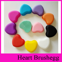 Wholesale 11 Colors Heart Shape Brushegg Clean brushes Makeup Wash Brush Silica Glove Scrubber Board Cosmetic Cleaning Tools