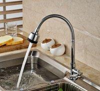 Wholesale Deck Mounted Kitchen Faucet Cold Tap Chrome Brass Swivel Spout Single Handle Dual Sprayers