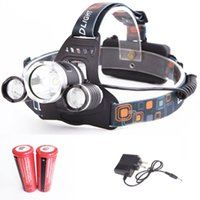 Wholesale New LED Flashlight headlamp LM Rechargeable Headlight with Lithium Battery and AC Charger Outdoor Spot Light Lamp