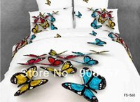 Wholesale cotton bed linen blue red butterfly prints D bedding set cheap home textile discount quilt duvet cover for Queen Full comforter