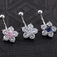big diamond belly button ring - 2016 Big Diamond Star Flower Navel Rings Clear Body Surgical Piercing Jewelry Steel Navel Ring Belly Button Bar Star New
