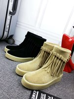 Wholesale Cowhide suede fringed toe boots rubber anti skid lady winter new Christmas special offer with flat shoes