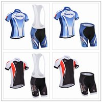santini - Tour De France Cycling Jerseys Santini Black Blue Short Sleeves Cycling Tops Bib None Bib Shorts Quick Dry Compresse Size XS XL