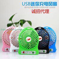 Wholesale Mini Protable Fan Multifunctional USB Rechargerable Kids Table Fan LED Light Battery Adjustable Speed F95B Multi Color