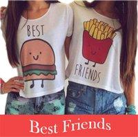 best fried - 2016 Summer Round Neck HAMBURGER FRENCH FRIES BEST FRIENDS Printed Cotton Modal Short Sleeve Women T shirts DR550