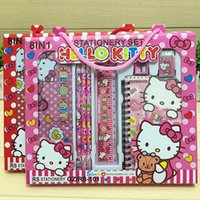 Wholesale Cartoon Stationery Set Student Supplie Pieces Sets Kid Gift Box Toys Frozen Hello Kitty Pencil Case Sharpener Eraser Ruler Notebook