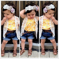 Girl america vest - Europe America brand girls lace jeans set small coat floral vest denim shorts lace headband clothing set