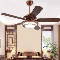 Wholesale LED Ceiling Fans quot quot V V Wooden Fan Blade European Vintage Ceiling Fans Lights for Restaurant Sitting Room Living Room CCC CE ROHS