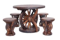 Wholesale Outdoor Furniture Lmitation Wooden Wheel Chairs And Desk For Garden