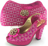 african dress designs - Cherry Lady Fashion New Design Italian Rhinestones Women Pumps And Matching Bag Set African Summer Shoes And Bag Set For Party Fuchsia Color