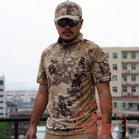 Wholesale New Tactical T Shirts For Men Short Sleeve t shirts Camo Combat Shirts Hunting Clothing Python Airsoft tshirts Outdoor Camp Tees