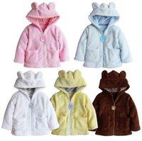 bear coats - Children Jackets Designer Baby Hooded Coat Autumn Long Winter Cartoon bear Coral Fleece Winter Baby Outwear soft Pure color cute