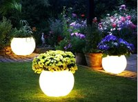 Wholesale 2016 New DHL waterproof outdoor table Illuminated Led Ball Shape Light Flower Pot with remote control