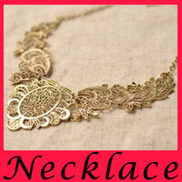 american heavy metal - European and American retro fashion luxury heavy Lace Necklace exaggerated metal filigree ladies short necklace alloy